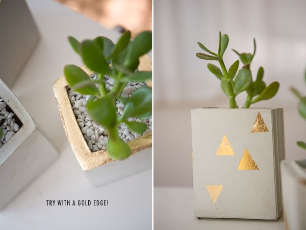 DIY Cement Gold Leaf Flower Pots - Thank you for coming and enjoying our day, here is a little something something to remember the day you spent with us. :)