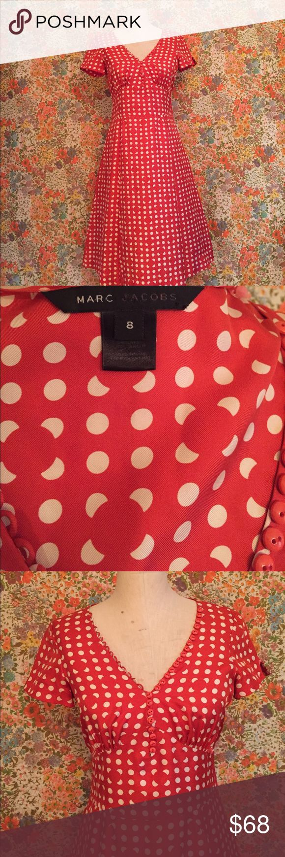 Marc Jacobs Polka Dot Red Dress Size 8 Super Cute Tea Length Marc Jacobs Red Polka Dot Dress! Size 8. Great condition, may need a little work on the sleeve stitch. But overall...Adorable! Marc Jacobs Dresses Midi