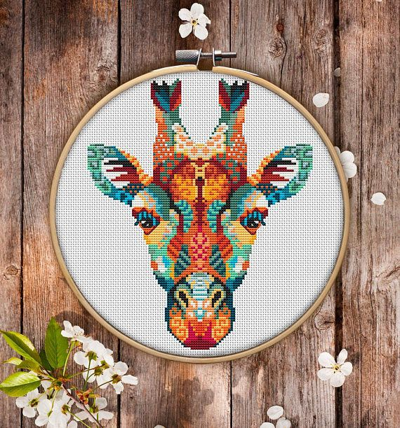 Mandala Giraffe Cross Stitch Pattern for Instant Download