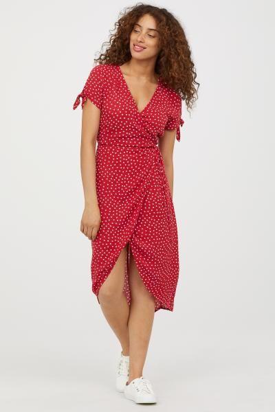 ea66650d7b7bd Anvelop Krep Elbise - Kırmızı/Puantiyeli - KADIN | H&M TR 1 | Gizli ...