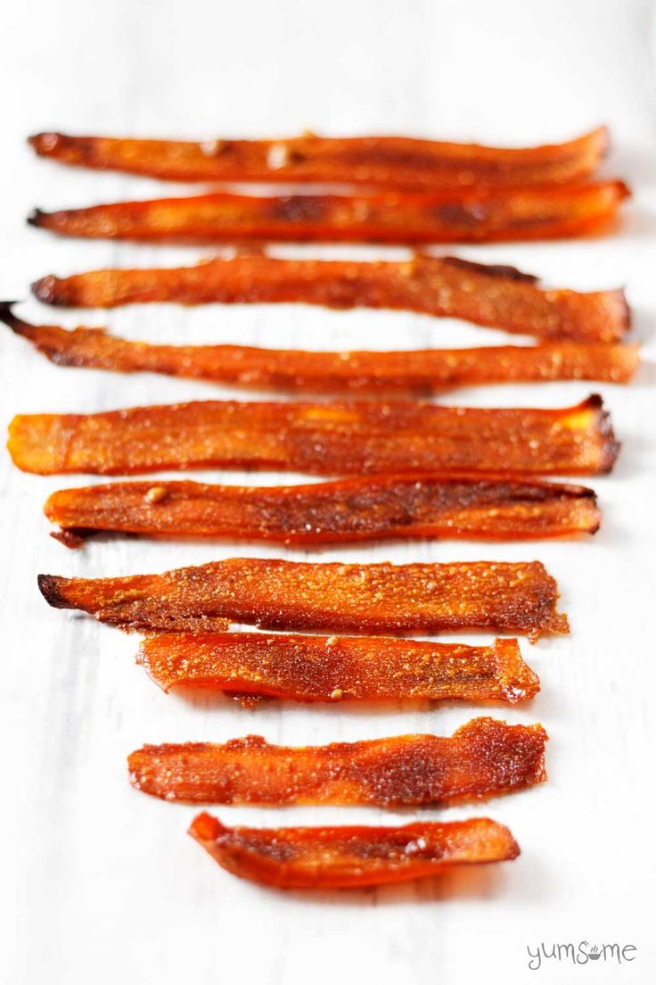This delicious, easy-to-make vegan bacon substitute is made from carrots and five other store cupboard ingredients.