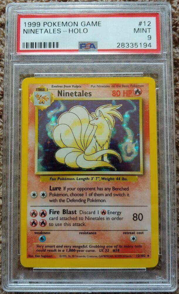 PSA 9 MINT Ninetales 12//102 Base Set HOLO RARE Pokemon Card