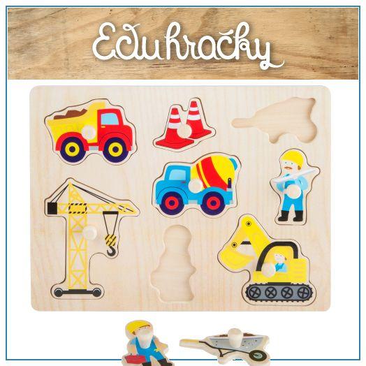 Drevené puzzle s úchytkami sú hračky určené pre deti od cca 1 roka a podporuje jeho zručnosti ako je jemná motorika, manuálnu zručnosť, logické myslenie a cit pre tvar predmetu. Roztomilý motív staveniska.