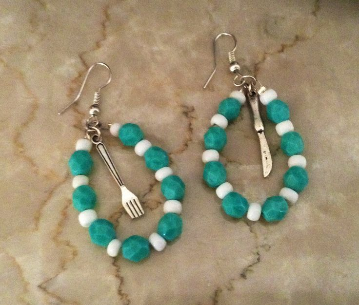 Susi Susi. Knife and fork turquoise earrings.