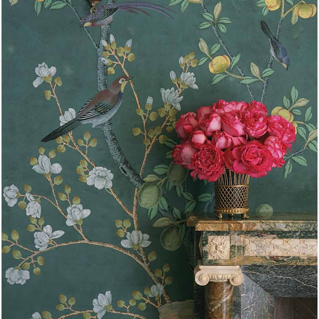 Detail of Boudoir decorated with hand coloured Indian Tea De Gournay wallpaper.