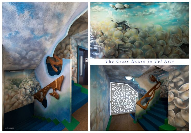 """The Crazy House"" in Tel Aviv, Israel at Hayarkon 181 Hand-painted walls of the lobby of the building and all floors by artist Shlomith Bollag. Hand Carving Stair Railings. photo by Kaśka Sikora  #TelAviv #Israel #hayarkon #realestate #interior #painting #luxuryrealestate #luxuryhomes #luxurylife #designer #decoration #telaviv #interiordesign  #gaudistyle #luxuryapartments #KatarzynaSikora #KaśkaSikora #Sikora #CrazyHouseTelAviv"
