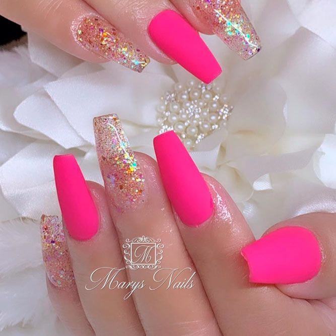 34 Pink And White Nails Trends For Spring And Summer 2020 Bright Pink Nails Pink Acrylic Nails Matte Pink Nails