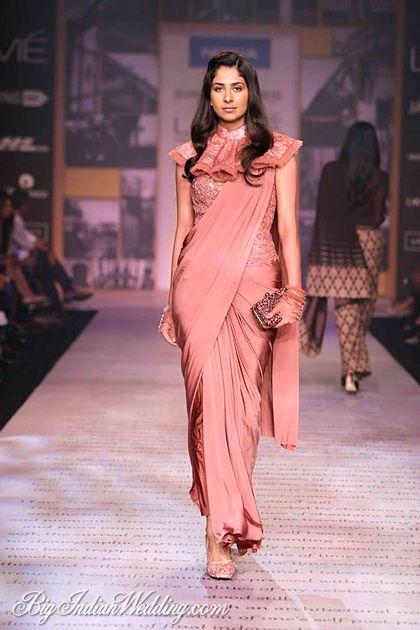 Shantanu Nikhil saree with ruffled blouse