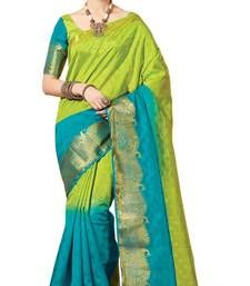 Buy Parrot gree woven banarasi silk saree with blouse banarasi-silk-saree online
