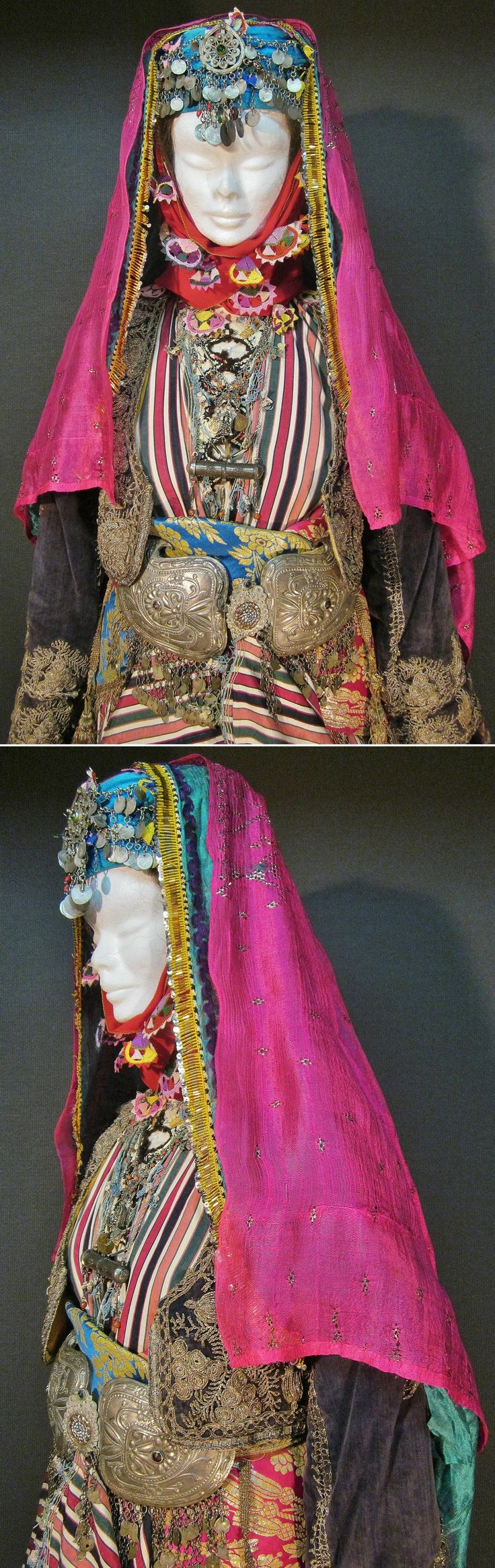 Close-ups of a bridal costume from the Aydın-Ödemiş area.  Late-Ottoman, urban style, ca. 1900. (Kavak Costume Collection - Antwerpen/Belgium).