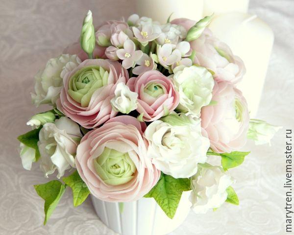 """Купить Букет из холодного фарфора """"Розовые сны"""" - бледно-розовый, розовый, белый, ранункулюс, лизиантус"""