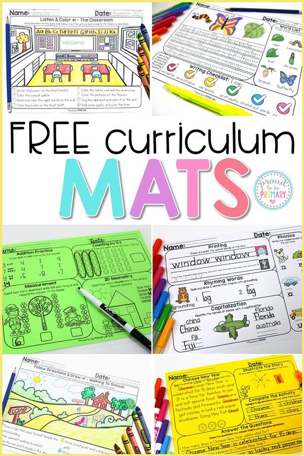 Mats Sampler Comprehension Words Math Writing With Images
