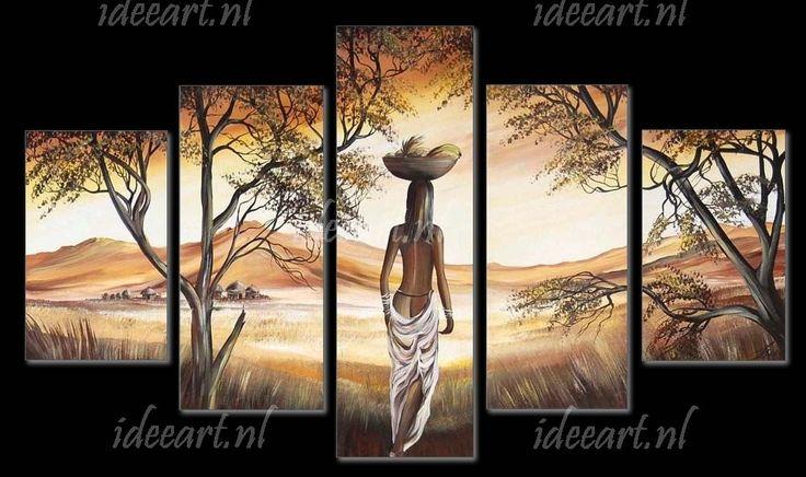 Afrikaanse vrouwen zijn mooi! Handgeschilderd schilderij Vrouw uit Afrika