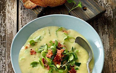 Klassisk kartoffel porre suppe med bacon - nyt fyld. Meget børnevenlig!