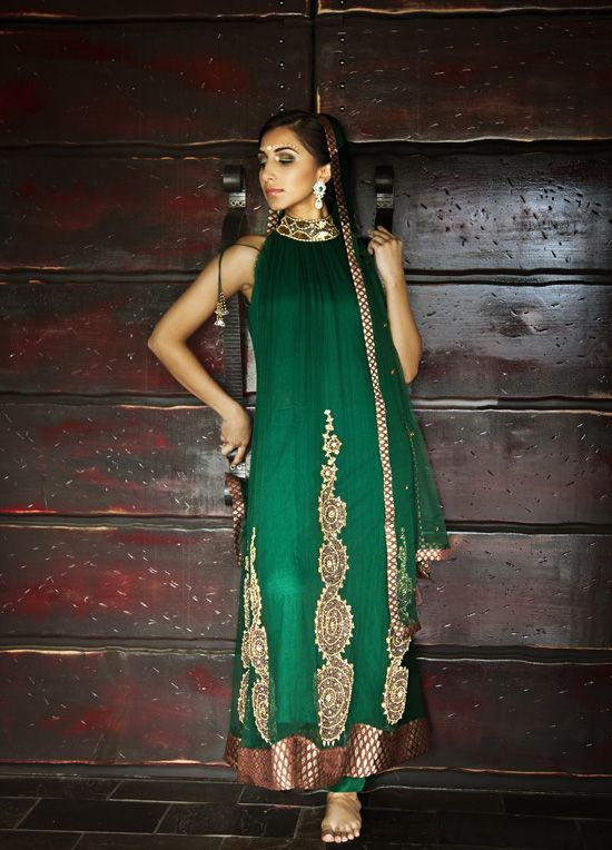 Green anarkali kurta