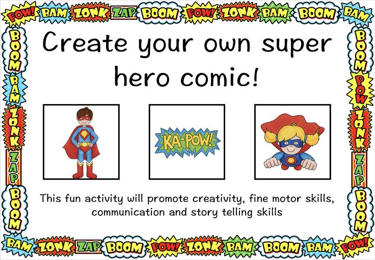 This fantastic resource is designed to promote creativity, fine motor, communication and story telling skills in an engaging way using your children's interest in Super-Hero's. The pack includes a template as well as picture cards for your children to cut and create their own story. 5 pages for $4! http://designedbyteachers.com.au/marketplace/create-my-own-super-hero-comic/