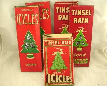 icicles....make a holiday tree sparkly... In the past they were made of aluminum and were long, heavy tinselly goodness... unlike the icicles made today that one can buy