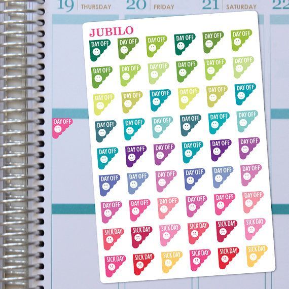 Planner Stickers  Day Off/Sick Day Stickers Scalloped Corner