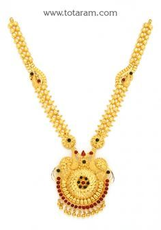 22K Gold 'Peacock' Necklace: Totaram Jewelers: Buy Indian Gold jewelry & 18K Diamond jewelry