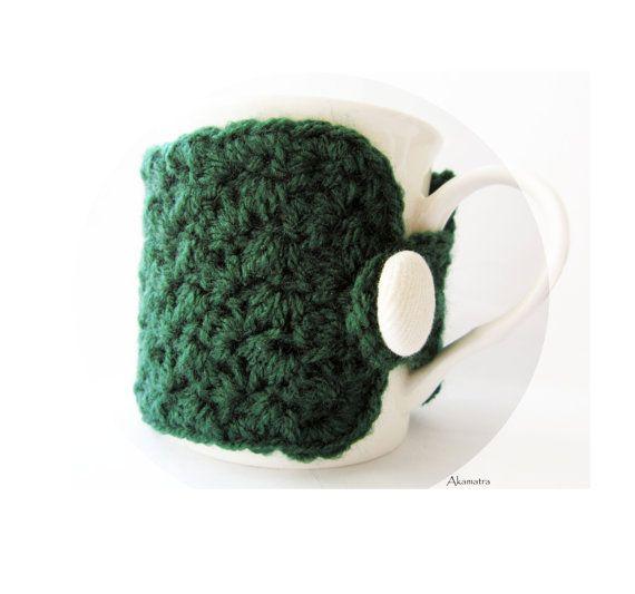 Crochet mug cozy emerald green cup cozy cute kitchen by Akamatra, $9.50