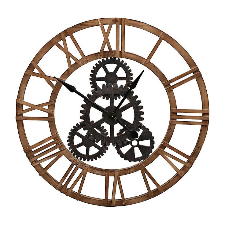 Product Details Fir Wood And Metal Gear Wall Clock Wall