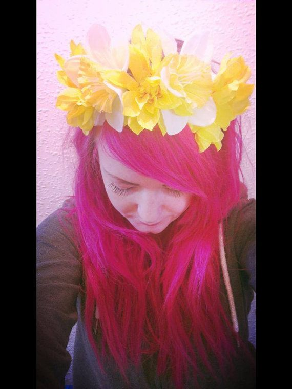 Yellow+daffodil+floral+crown+with+tie+fastening+by+VaudevilleUK,+£15.00