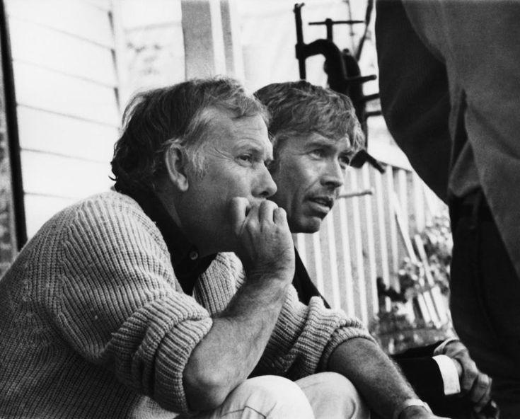 James Coburn and Sam Peckinpah on the set of 'Pat Garrett & Billy the Kid' (1973).