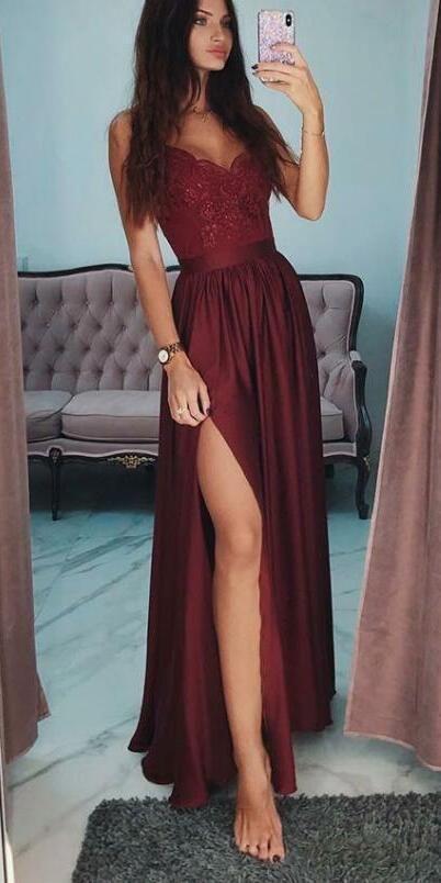 A-ligne bretelles spaghetti côté Split pas cher modeste Long Bourgogne robes de soirée, robe de soirée, PD0857