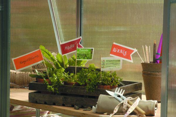 Wszystko pięknie rośnie jak na drożdżach. Tylko co rośnie gdzie? Małe, własnoręcznie wykonane chorągiewki pomogą nam się rozeznać, gdzie co rośnie.