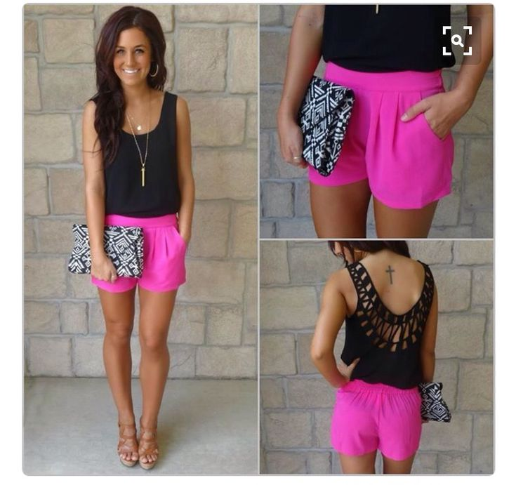 Stitch fix spring summer 2016 Black shirt, hoop earrings, tan wedge sandals,black and white clutch purse, cross tattoo, crochet back shirt,  Bright pink shorts, pendant necklace