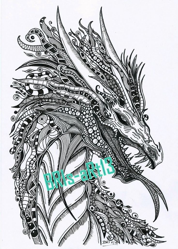 "Coloring Pages - Adult coloring ZenZia ""DRACHE"" made by BRI,, zendoodle, Ausmalbilder, Vorlage Zentangles, coloring download, painting von BRIsaRt13 auf Etsy"