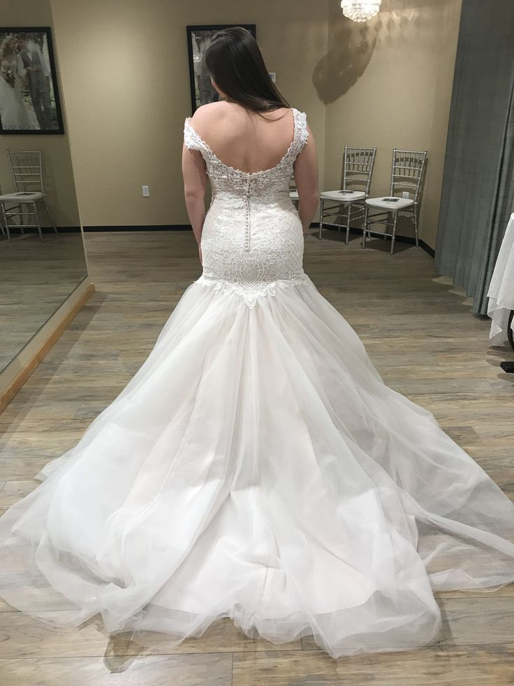 Beaded lace and crosshatching adorn the bodice of this wedding dress, completing the sweetheart neckline, illusion cap-sleeves and illusion scoop back. Fit-and-flare skirt features layers of soft tulle. (Zelda   Rebecca Ingram)