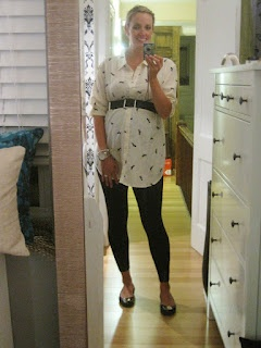 Pregnancy Fashion- flats, leggings, animal print, and belts!