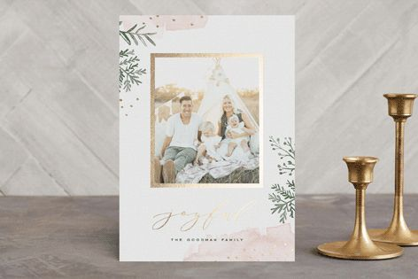 """Watercolor Winter"" - Floral & Botanical, Hand Drawn Foil-pressed Holiday Cards in Pale Pink by Oscar & Emma."