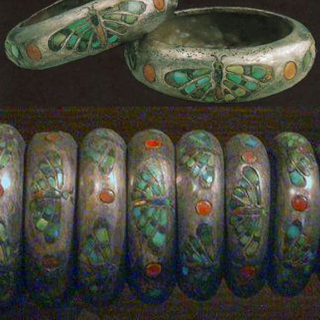 Dozens of silver bracelets of Queen Hetep Heres I, wife of king Senfru & mother of king Khufu, inlaid with semi-precious stones figuring butterflies flanked by solar discs. Found in her tomb. . 4th Dynasty, ancient Egypt. Cairo Egyptian museum.
