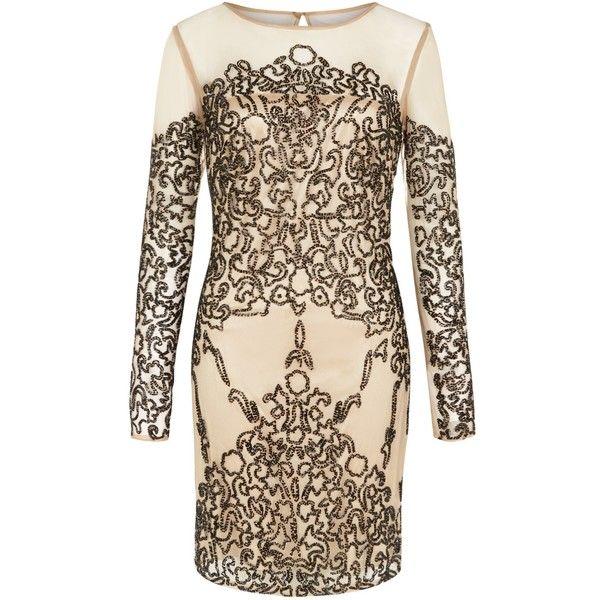 Raishma - Black on Nude Evening Dress (24.490 RUB) ❤ liked on Polyvore featuring dresses, sleeve dress, kohl dresses, nude dress, sleeve cocktail dress and black beaded dress