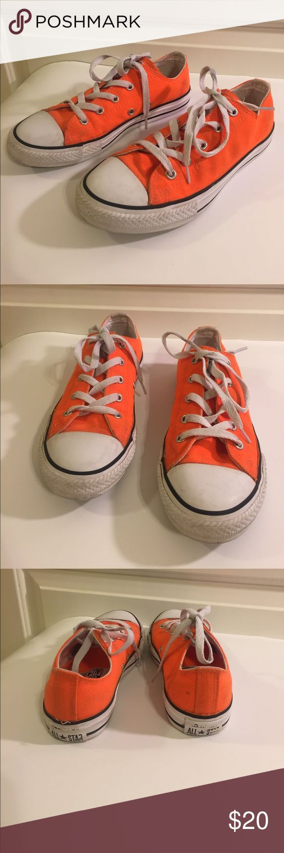 Orange Converse Youth Size 3 Orange Converse Youth Size 3. Shoes show signs of wear but are still in good condition. Converse Shoes Sneakers