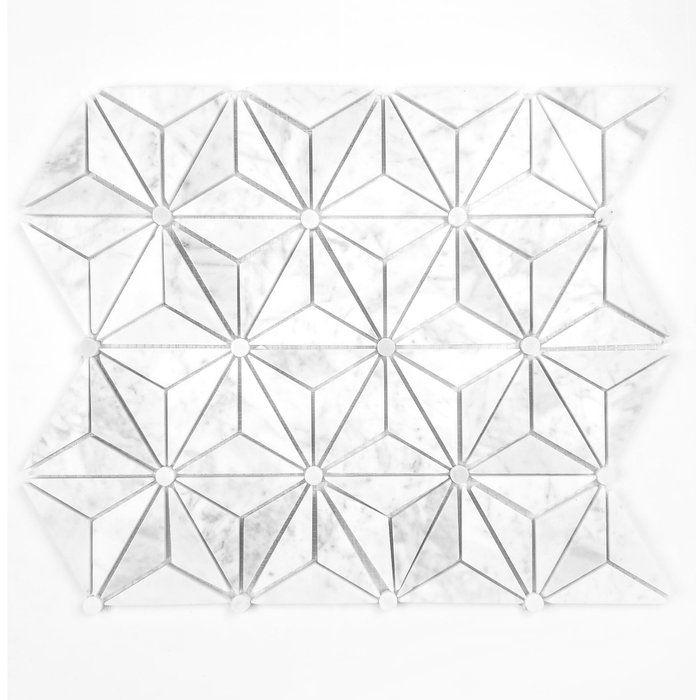 Carrara White Triangle 12 X 14 Marble Mosaic Tile Marble