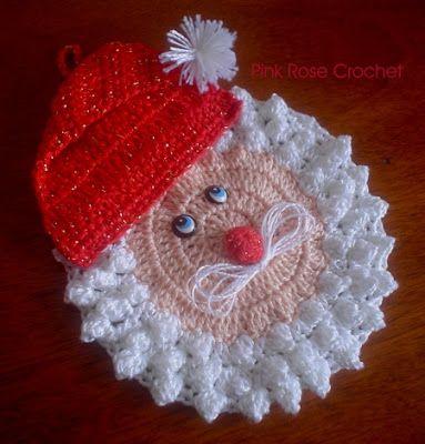 PINK ROSE CROCHET : Pega Panelas Papai Noel - Crochê