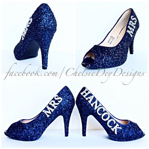 Glitter High Heels Navy Blue and Silver Peep by ChelsieDeyDesigns