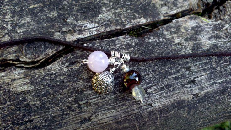 Brown+Soft+Suede+Bracelet+With+Rose+Quartz+Dark+by+KEYZandMore,+$16.50
