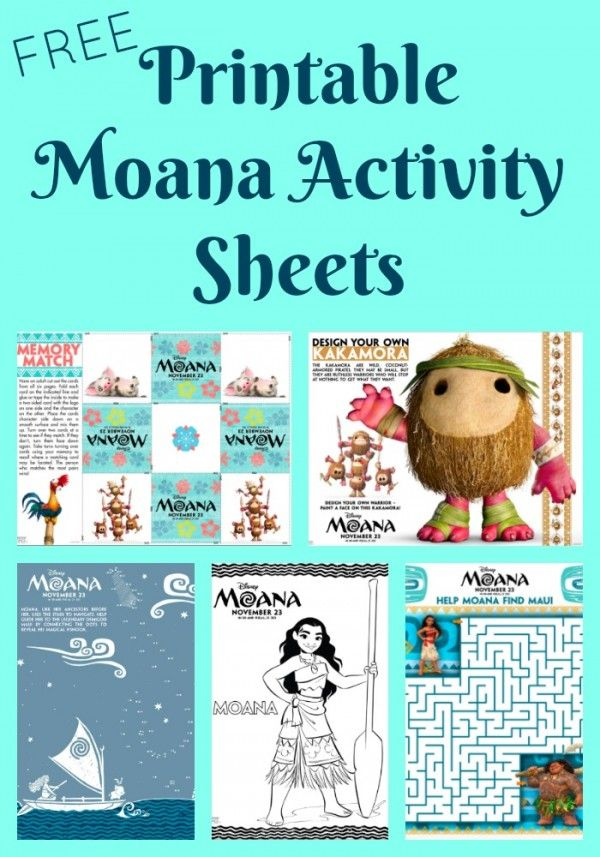 Printable Moana Activity Sheets Coloring Pages