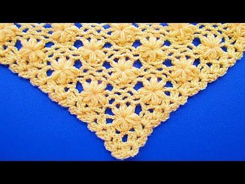 """Chal triangular o en """"V"""" Tejidos a crochet y/o ganchillo paso a paso en video tutorial, tejidos en lanas o en hilos delgados de diversos colores con ganchil..."""