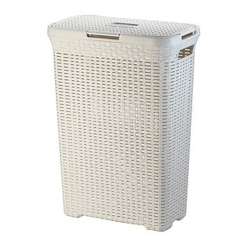 Briscoes - Olvera Laundry Basket Cream 50 Litre 460mm x 270mm x 620mm $24.49