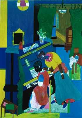 Romare Bearden, 1911-1988, Born Charlotte, NC, Died New York, NY, The Piano Lesson (Homage to Mary Lou), 1983