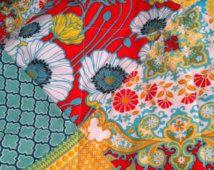 Boho literie de bébé, bébé couette, fille lit literie, couverture de bébé fille, bébé moderne quilt, minky, rouge, Sarcelle, jaune, vert, floral, boho pépinière