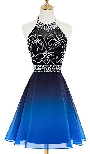 db000b009e0 HEAR Women s Ombre Halter Crystals Prom Gown Short Gradient Backless  Chiffon Cocktail Dresses Hear215 in 2019