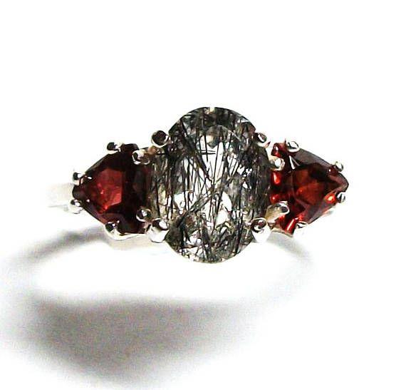 Rutilated Quartz Rutile Quartz Ring Rutile Ring Multistone Ring Anniversary Ring Black White Red Re Rutilated Quartz Quartz Ring Gentle Jewelry Cleaner