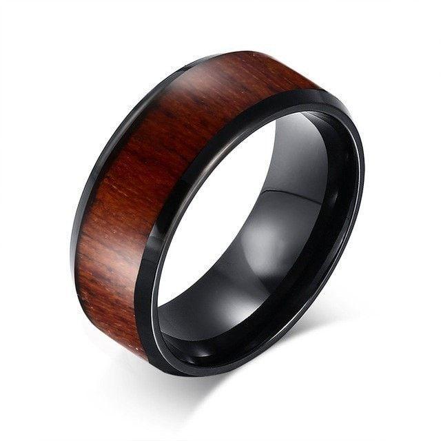 Retro Wood Grain Wedding Ring For Men