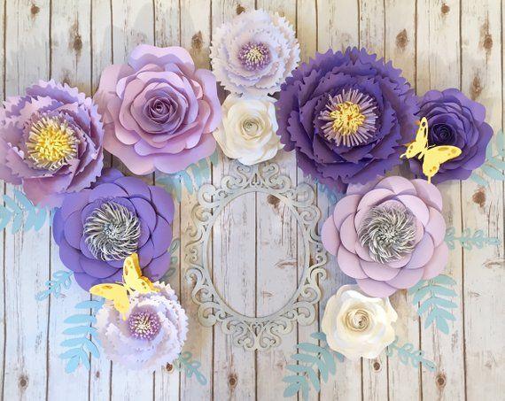 Large Paper Flowers Wall Decor Lilac Nursery Wall Art Purple Etsy Paper Flowers Large Paper Flowers Paper Flower Arrangements